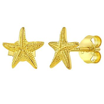 925 Sterling Silver Starfish Stud Earrings Sea Nautical Push Back for Girls