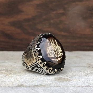 Amber gemstone with mosque 925k sterling silver mens ring