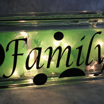 Family Lighted Glass Block