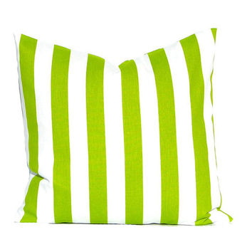 Green Pillow Cover , Stripe Pillow, Decorative Throw Pillow Cover ONE Pillow Cover Chartreuse Green Pillow Cover Premier Prints