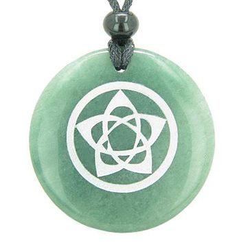 Flower of Life Wiccan Pentacle Star Amulet Green Aventurine Magic Circle Good Luck Pendant Necklace