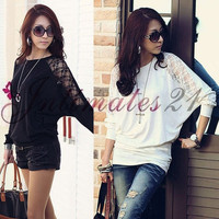 New Women Loose Oversize Blouse Tops Lace Batwing Sleeve Long Casual T-Shirt Stylish = 1946313028
