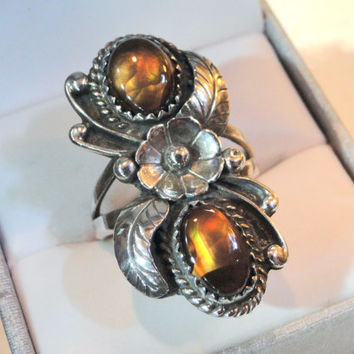 Vintage Native American Ring, Fire Agate Sterling Flower Leaf Size 7 Hallmark Collector Jewelry Unique