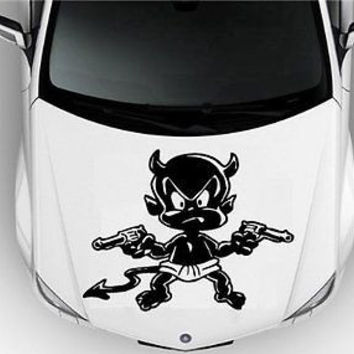 Hood Auto Car Vinyl Decal Stickers Funny Devil with a Gun S7478