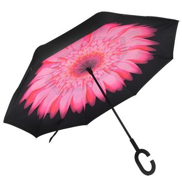 Ceiourich High Quality Reverse Umbrella Folding with Large Long Handle Car Reverse UV Protection Windproof Umbrella-001