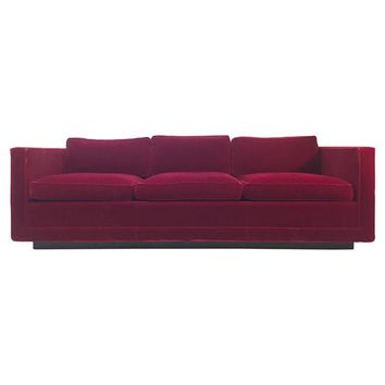 Pre-owned Milo Baughman Style Red Velvet Sofa