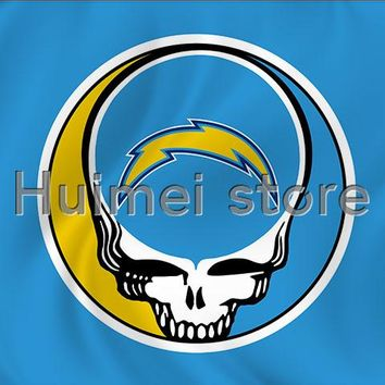 Top new design San Diego Chargers flag 90x150cm polyester banner skull circle head home decoration flag