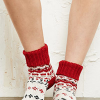 Winter Slipper Socks in Red at Urban Outfitters