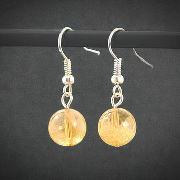 Citrine Crystal Sun Earrings: Silver // Planet Earth Moon Stars Jewelry // Science Space Travel Nerd // Rocket Star Ship // Scifi // Nerd