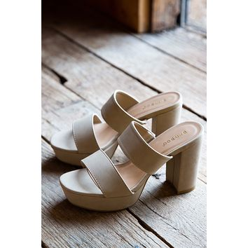 Script Double Band Slide Platform Sandal, Natural Nubuck