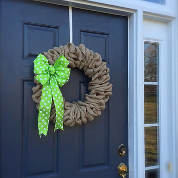 Burlap Wreaths Polka Dots Lime Green Trendy Decor Cute Burlap Door Wreaths