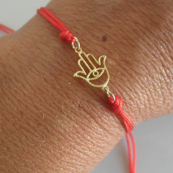Hamsa hand friendship bracelet  vermeil by 19bis on Etsy