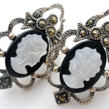 Cameo Earrings Mother of Pearl & Black Onyx