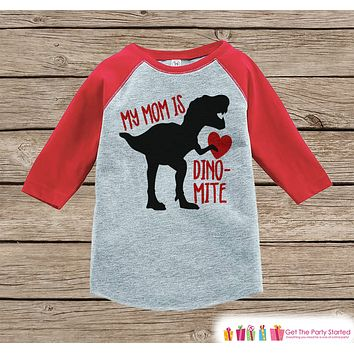 Kids Mother's Day Outfit - Red Heart Dinosaur Onepiece or Tshirt - Happy Mothers Day Kids Red Raglan Tee - Boys Mothers Day Shirt - Dino