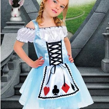 Halloween Maid Costumes kid child 106-140cm Alice in Wonderland Costume Suit Maids Lolita Fancy Dress Cosplay Costume for Girl