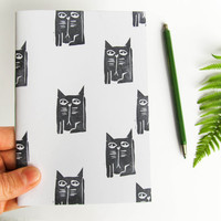 CAT NOTEBOOK Cat print Cute little booklet Handmade stationery Minimalist journal Hand printed Linocut Handbound blank sketchbook Grumpy cat