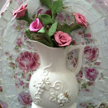 Mosaic wall hanging with shabby chic roses