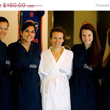 SALE 5 Personalized Spa Robes Wedding Gifts Bridesmaids Gifts, Bride Robe, Free Front and back embroidery Custom made