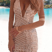 Metallic Deep V-neck Sequins Sleeveless Bodycon Dress
