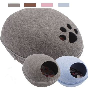 Egg Style Pet puppy cat kitten Bed Felt Natural Cat Litter Kennel hand felted paw style four colors pink brown blue grey