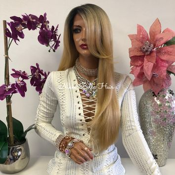 Blond Ombre Highlights Swiss Lace Front Wig 22 Inches | Multi Parting | Volume Layered Hair | Jhene 1018 51