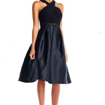 Adrianna Papell Crossed Front Pleated Zipper Back Mikado Dress