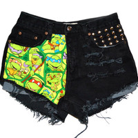 "ALL SIZES Half ""Ninja Turtles"" Half Distressed&Studded"