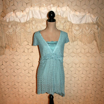 Tiffany Blue Top Lace Top Boho Top Boho Clothing Short Sleeve Top Long Top Empire Waist Top Lane Bryant 18/20 2X Womens Plus Size Clothing