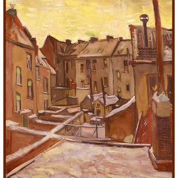 Houses in Arles by Impressionist Artist Vincent Van Gogh Counted Cross Stitch or Counted Needlepoint Pattern