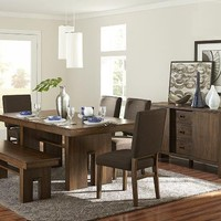 6 pc Sedley chocolate brown finish wood dining table set with pedestal base