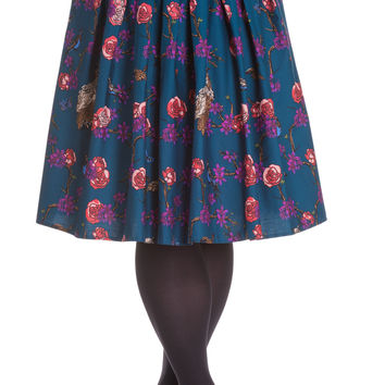 Plus Size Wonderland Forest & Birds Print Midnight Blue Pleated Skirt