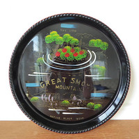 Vintage Great Smoky Mountains Native Black Bear souvenir drink tray made in Japan