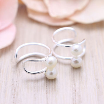 925 sterling silver no piercing double wire ear cuff with pearl