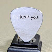 I love you guitar pick handmade in aluminum