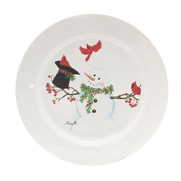 Tabletop SNOWMAN PLATE. Stoneware Cardinal Tophat 68636 A