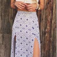 White Circle Print Slit Dress