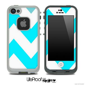 Chevron Pattern Turquoise and White Skin for the iPhone 5 or 4/4s LifeProof Case