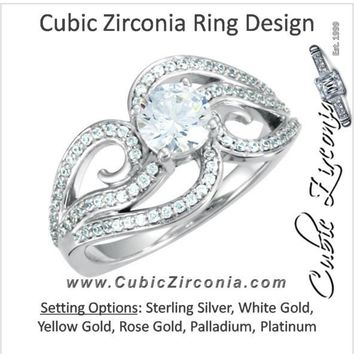 Cubic Zirconia Engagement Ring- The Peggie (1.08 Carat TCW Round Cut Oversized Curlicue Pavé Split-band)