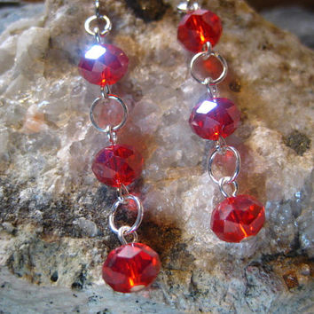 Red Crystal Earrings, Dangle Earrings, Gifts for Her From The Hidden Meadow