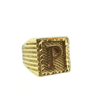 "Vintage 14k HGE Signet Monogram Initial ""P"" Ring Size 10 - Solid Gold Layered"