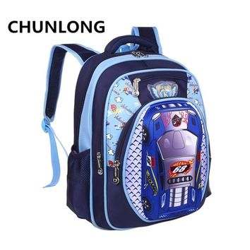 CHUNLONG Russia Style Orthopedic 3D Car Cartoon School bags Backpacks For Boys  Waterproof Backpack Child Kids School bag