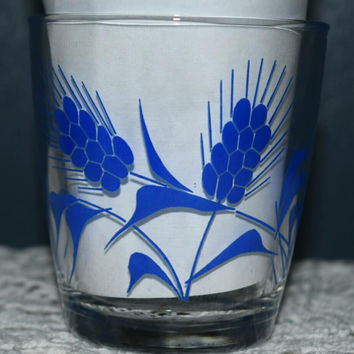 Vintage Glassware-Sour Cream Glass-Hazel Atlas-Blue Wheat-1/2 Pint