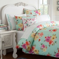 Junk Gypsy Country Blooms Duvet Cover + Sham, Pool