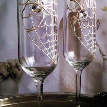 Set of 2 hand painted champagne flutes Swarovski crystal Spider couple toasting wedding glasses
