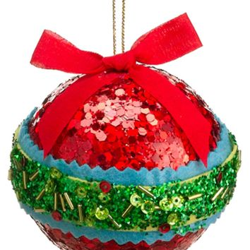 """3.5"""" Christmas Brites Red Green and Blue Sequin and Bead Ball Ornament with Bow"""