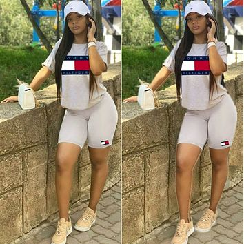 TOMMY HILFIGER Classic Short Sleeve Top Shorts Set Two Piece Sportswear