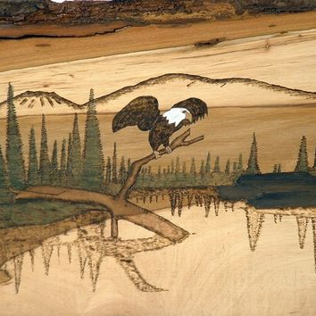 Pyrography Wood wall art, Deer, Mountains and Eagle, Wall Decor