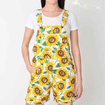 Jumpsuit - Sunflower pattern summer shorts = 4777458500