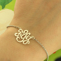 Monogram Mother's Day Bracelet  Sterling Silver