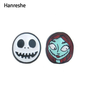 The new arrival The Nightmare Before Christmas Her Jack His Sally Couple  Earrings For women Studs Female Gift Fashion Jewelry